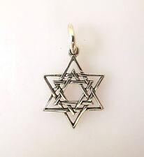 .925 Sterling Silver INTERLACED STAR OF DAVID CHARM NEW Jewish Pendant 925 FA05