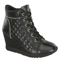 Black Lace Up Quilted Sneaker Wedge Zipper Decor Platform Women's Shoes Adriana