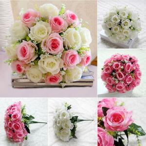 Silk-Fake-Roses-Artificial-Wedding-Flowers-Decrations-Bridal-Posy-Flower-18-Head