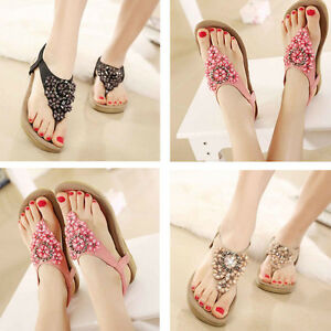 1f90360ff6b51 Women Casual Sweet Beaded Slipper Flip Flop Flat Chic Bohemian Beach ...