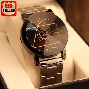 Fashion-Luxury-Men-Women-Compass-Watch-Stainless-Steel-Quartz-Analog-Wrist-Watch