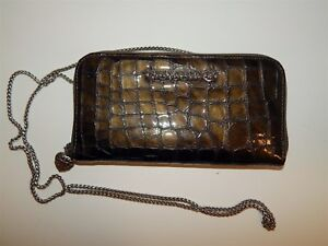 Brighton-Metallic-Khaki-Patent-Leather-Organizer-Wallet-w-Crossbody-Chain