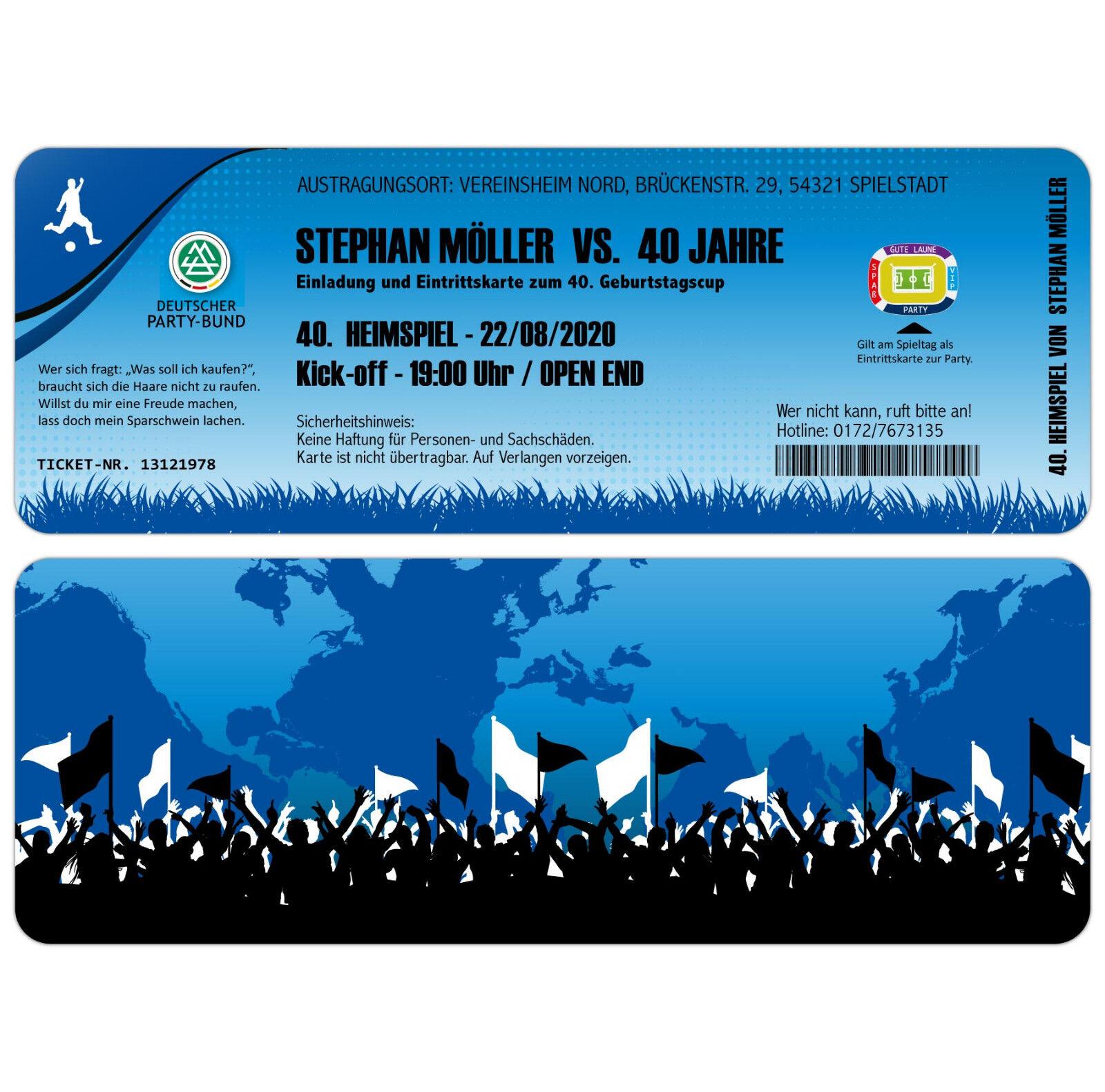 Futbol ticket tarjetas de invitación para mi cumpleaños como boleto - 2 x demolición