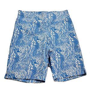 Barbara Erickson Stretch Bermuda Shorts Pattern Blue Seahorse Sz 6 Small S NEW