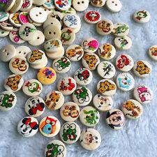 15mm Wood Button Animals Round 2 Holes Scrapbooking DIY Sewing Craft 100pcs