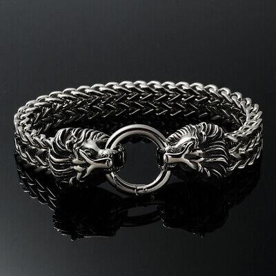 Herren Silber Lion Löwenkopf Armband Edelstahl Panzerarmband Armkette 22.5cm MöChten Sie Einheimische Chinesische Produkte Kaufen?