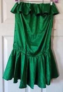 64110fcefb $120 NWT Rachel Lym Womens Green Strapless Ruffle Dress Swim Cover ...