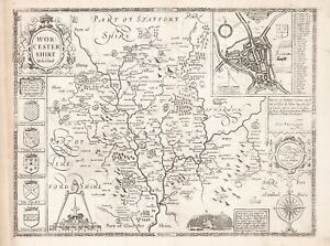 Old Vintage Worcestershire England Decorative Map Speed Ca 1676