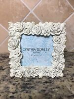 Cynthia Rowley White Silver Roses 3.5x3.5 Picture Photo Frame Square Shabby Chic