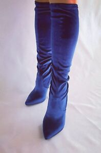 Italy da donna Ovp 119 Fiore Gr velluto Scarpe in 39 Blue € Royal dIqnwwpAWg