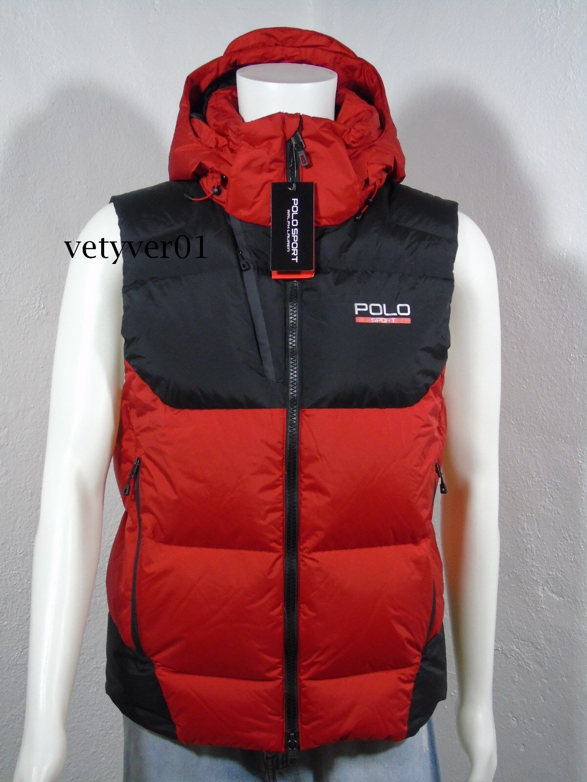 NWT Polo RALPH LAUREN Sport Sideline Down Feathers Removable Hood Vest Red sz M