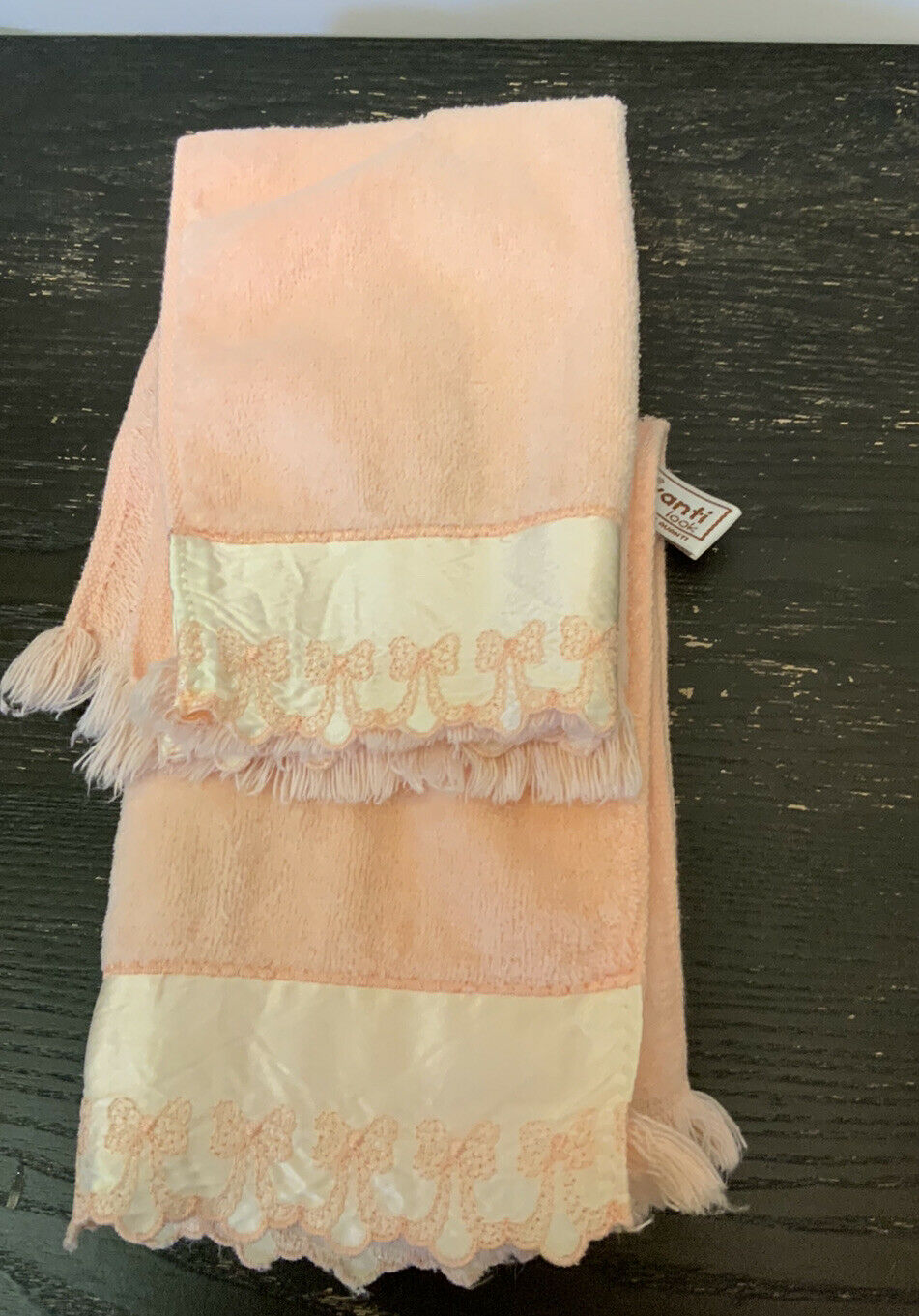 [2]Vintage AVANTI Peach Hand Towels Satin Embroidery BOW Face Trim - 1978
