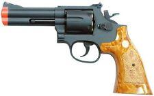 "4"" TSD UHC Airsoft Gas Revolver Pistol Gun Semi Auto Black Wood UG134 w/ Shells"