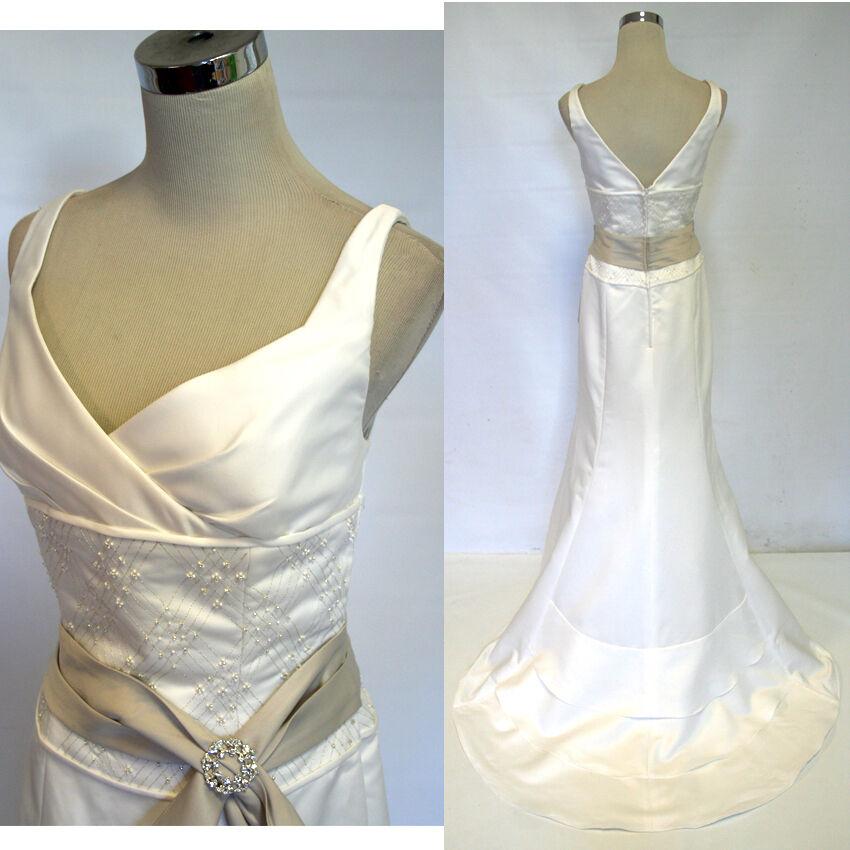 Nwt Eden Bridals Elfenbeinweiß Hochzeit Abend Ball Gown10