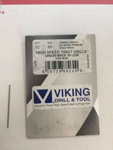 12-PACK Number #57 88260 Norseman Viking USA Drill Bit Super Premium Jobber