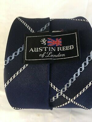 Austin Reed Of London Blue Chain Plaid Link Mens Neck Tie 56 X 3 1 4 Ebay