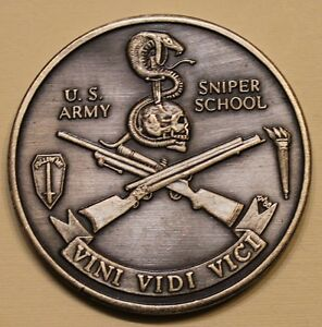 Details about US Army Sniper School Silver Toned ser#60 Army Challenge Coin
