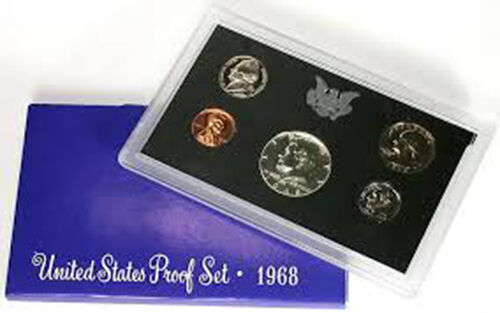 1968 S Proof Set Original Box 40/% Silver Kennedy Washington US Mint 5 Coins