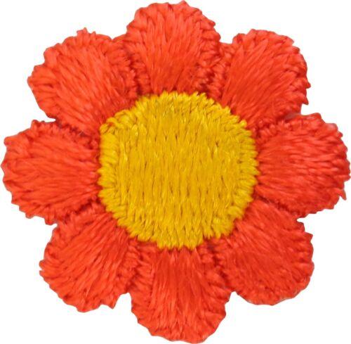 55008 Orange Daisy Flower Hippie Hippy Cute 60s Sixties Badge Sew Iron on Patch