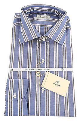 Size Small 15 Luigi Borrelli Green Stripes Button-Down Collar Linen Slim Fit Dress Shirt
