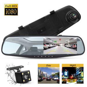 HD-LCD-Mirror-Monitor-Dash-Cam-Dual-Lens-Car-DVR-Reverse-Rear-View-Camera-Kit