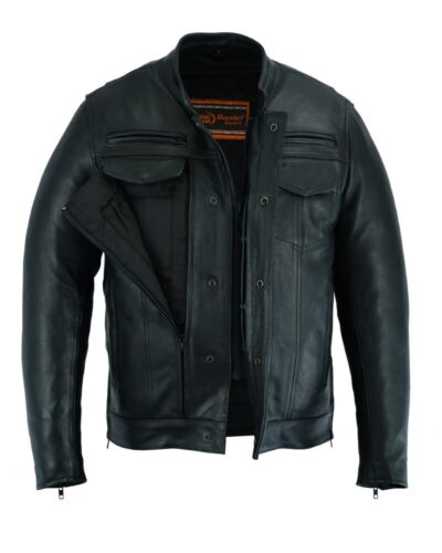 Men's Motorcycle Biker Modern Utility Style Leather Jacket With Concealed Carry