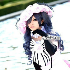 Black Butler Ciel Phantomhive Gray Mixed Blue Hair Anime Cosplay Wig + Ponytails