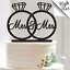 MR /& MRS WEDDING RINGS BLACK SPARKLES STAND-UP CAKE TOPPERS