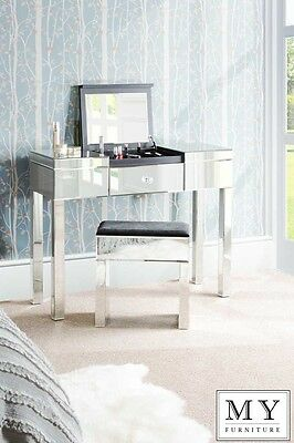 Mirrored Dressing Table / Console with Compartment & Drawer - APOLLO