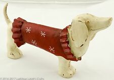 Dachshund Dog Resin Red Sweater - Large 10.5 x 6 - Distressed Rustic Prim NWT