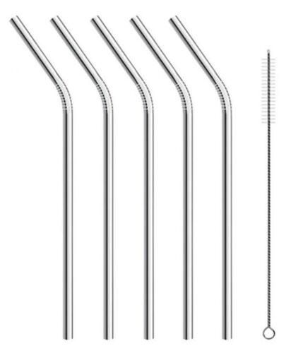 5in1 4 x Strohhalme mit 1x Bürste Edelstahl Trinkhalm Metall Wiederverwendbar