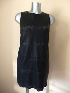 FRENCH-CONNECTION-ROBE-en-CUIR-Black-Size-8uk-Either-36fr-Authentic