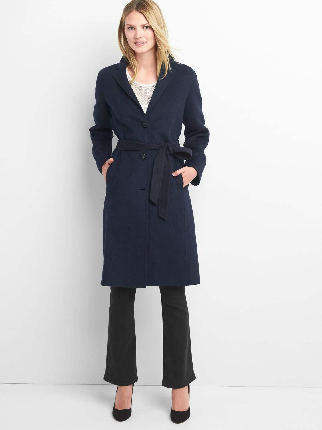 NWT GAP Classic Wool Coat, Dark Night (Navy), size L