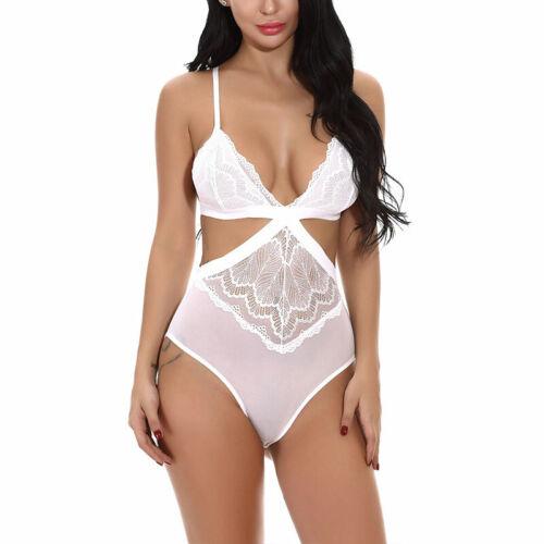 Women V Neck Lace Lingerie Strappy Cut Out Bodysuit Jumpsuit Nightwear Underwear