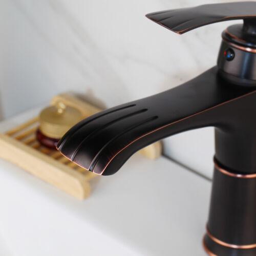Kitchen //Bathroom 1 Handle Brass Black Basin Sink Vanity Lavatory Mixer Faucet T