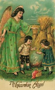 The-Guardian-Angel-Protecting-Children-from-Fire-at-Hay-Stacks-Vintage-Postcard