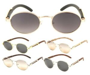 33cd8e7f76 LUXE SCHOLAR OVAL LUXURY SUNGLASSES ROUND METAL FAUX WOOD FRAME HIP ...