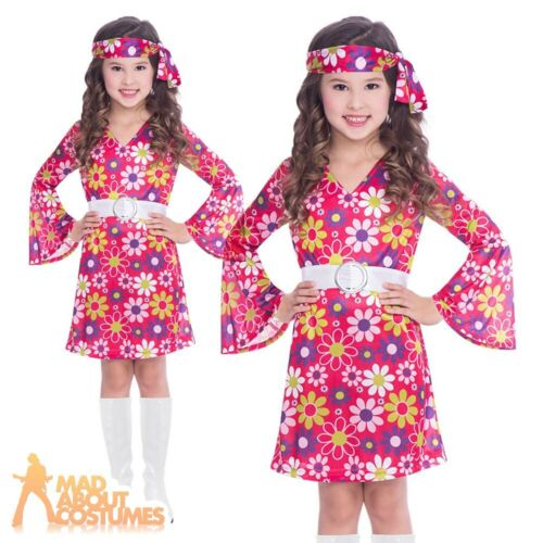 Kids 1960s Retro Girl Costume 70s Groovy Chick Flower Power Fancy Dress Outfit