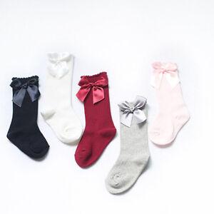 Baby Girls + Girls 3/4 Knee High Socks Satin Bow Ribbon Romany Spanish 0-4 Years