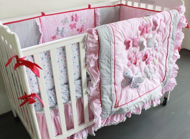 7pcs Baby Crib Cot Bedding Sets Quilt Bumpers fitted Sheet Dust Ruffle Pink