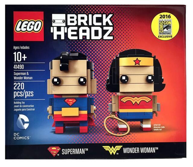 NEW! 2016 SDCC Exclusive LEGO Brick Headz DC Comics Superman Wonder Woman 41490