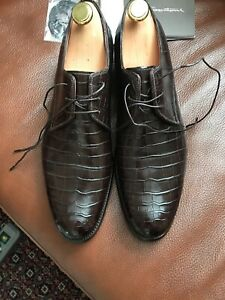 Santoni-Alligator-Leather-Derby-Shoes-Size-9-1-2-43-5