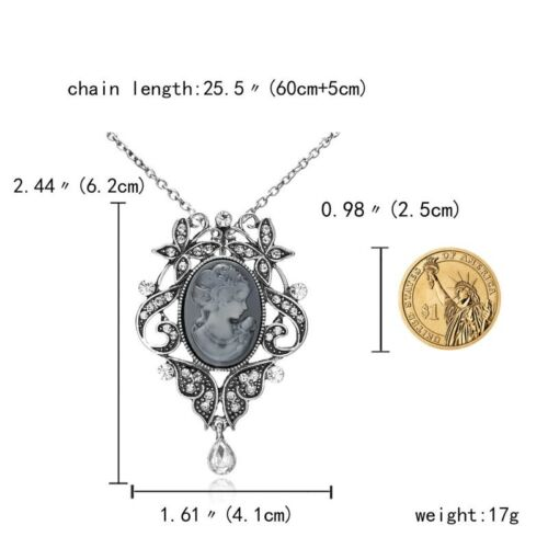 Charm Cameo Crystal Rhinestone Necklace Charm Sweater Chain Women Jewelry Party