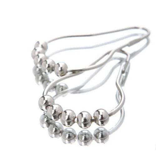 12 Pcs Chrome Plated Ball Bead Easy Glide Shower Metal Curtain Rings Hooks JP