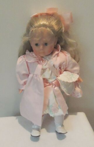 "Corolle Doll 17"" Pink Coat and Floral dress."
