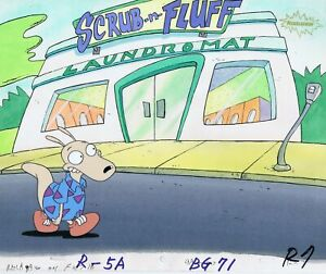 Rocko-039-s-Modern-Life-Original-1990-039-s-Production-Cel-Animation-Art-Laundromat