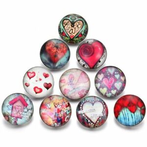 Snaps-Jewelry-Couple-Lovely-Heart-Glass-Snap-Button-Fit-18mm-Bracelet-Style-12