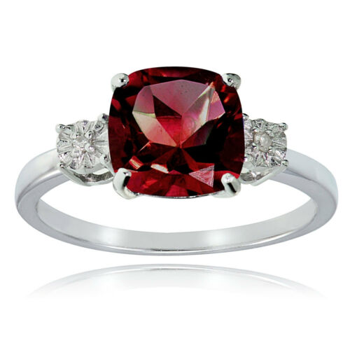 Sterling Silver Created Ruby and Diamond Accent Cushion-cut  Ring