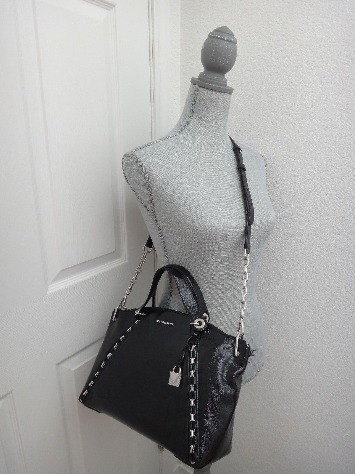 Michael Kors Women S Sadie Mk Black Patent Leather Lg Tz Satchel Bag 30f7saes3a 191262437595 Ebay