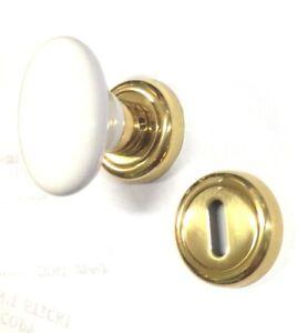Maniglia-Pomo-coppia-per-porte-in-ottone-con-impugnatura-in-ceramica-bianca